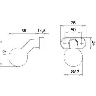 EDI Profiltür-Knopf 2033/4020 F9016 weiß Aufnahme M12 gekröpft 2003/4020/12