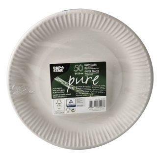PAPSTAR Pappteller pure/81203, weiß, 320 g/qm, 23 cm, Inh. 50