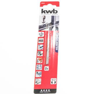 2er Pack KWB HSS-Spiralbohrer Silver Star Ø 3,0 mm, 135° rechtsschneidend 206530